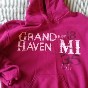 Gildan fuschia Grand Haven Michigan hoodie